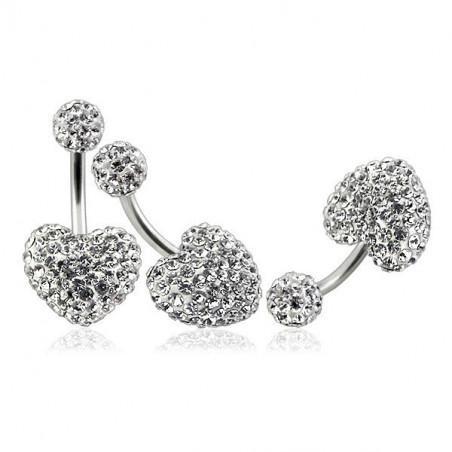 Piercing nombril coeur cristal blanc