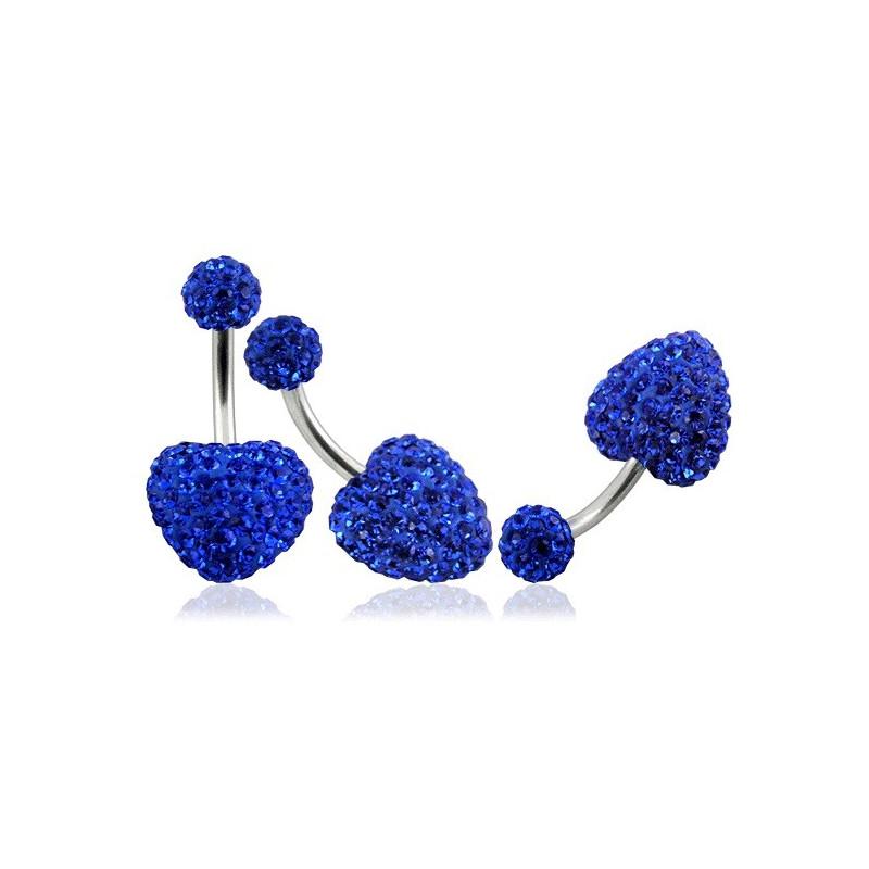 Piercing nombril barre en titane motif coeur en cristal de swarovski couleur bleu saphir