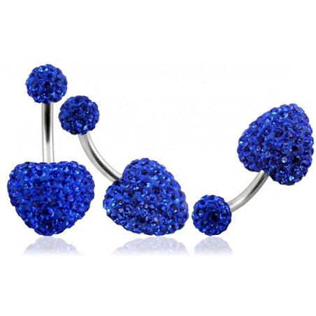 Piercing nombril motif coeur en cristal bleu saphir