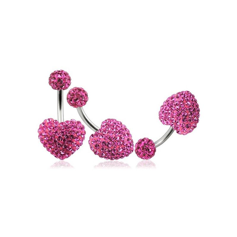 Piercing nombril barre en titane motif coeur en cristal de swarovski couleur rose