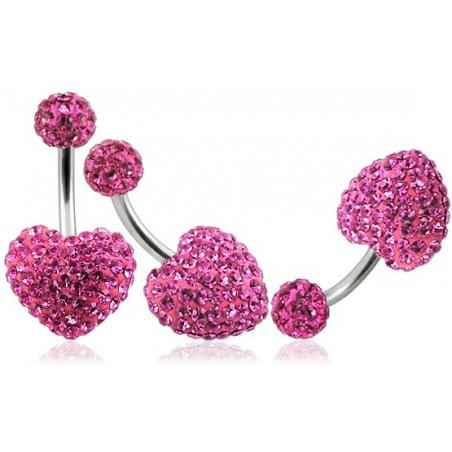 Piercing nombril motif coeur en cristal rose