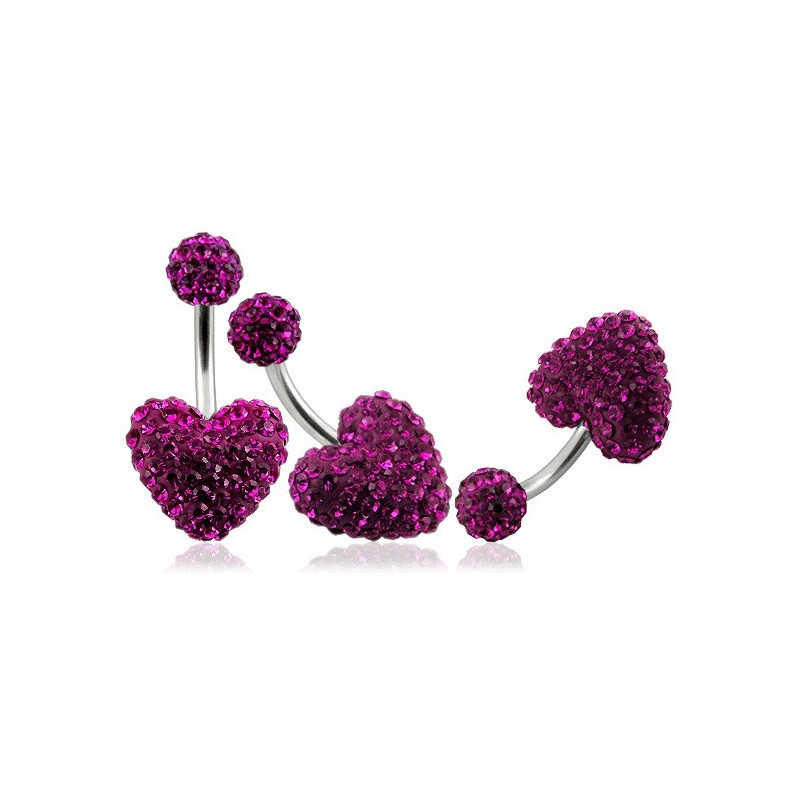 Piercing nombril barre en titane motif coeur en cristal de swarovski couleur rose fushia