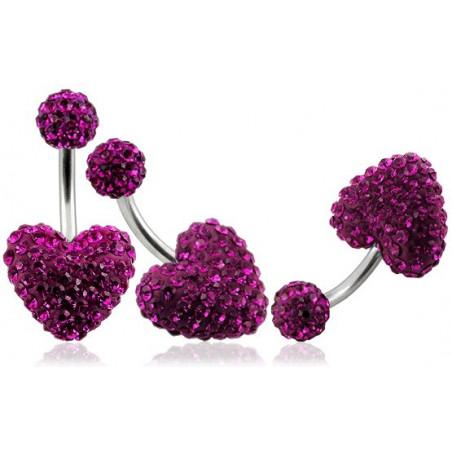 Piercing nombril motif coeur en cristal rose fushia