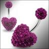 Piercing nombril swarovski fushia barre en titane motif coeur en cristal de swarovski couleur rose fushia