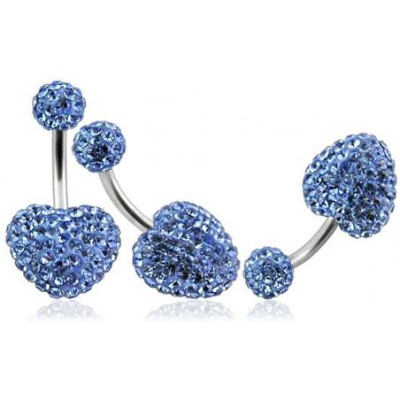 Piercing nombril motif coeur en cristal bleu ciel