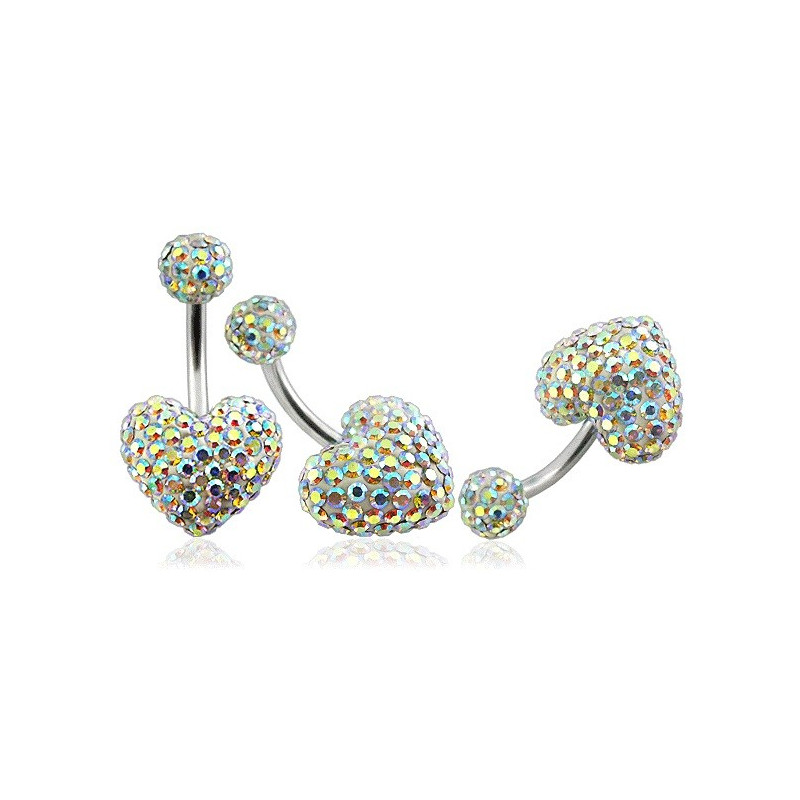 Piercing nombril barre en titane motif coeur en cristal de swarovski couleur arc en ciel