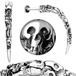 Piercing labret Skull 1.6mm longue pointe métal