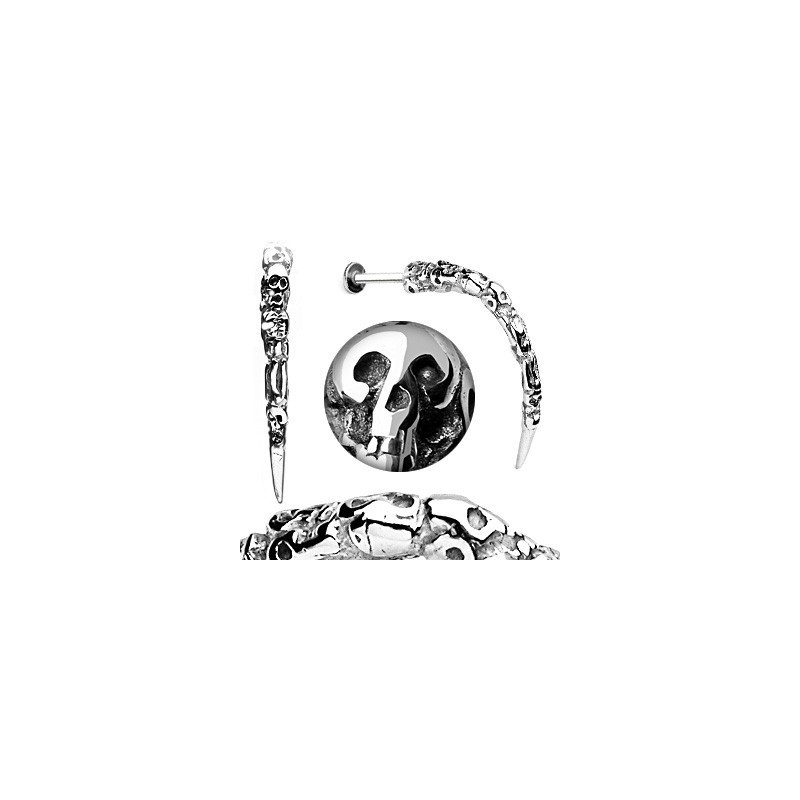 Piercing labret plusieur Skull tête de mort 1.6mm longue pointe métal hard