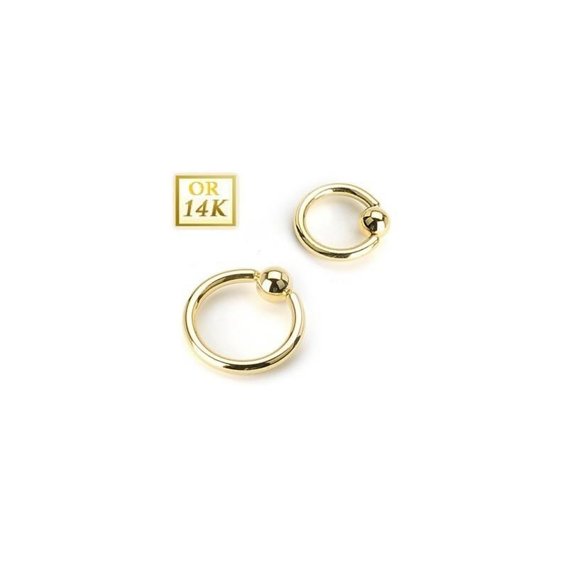piercing Anneau pour le nombril diametre 1,6 mm or 14 carats