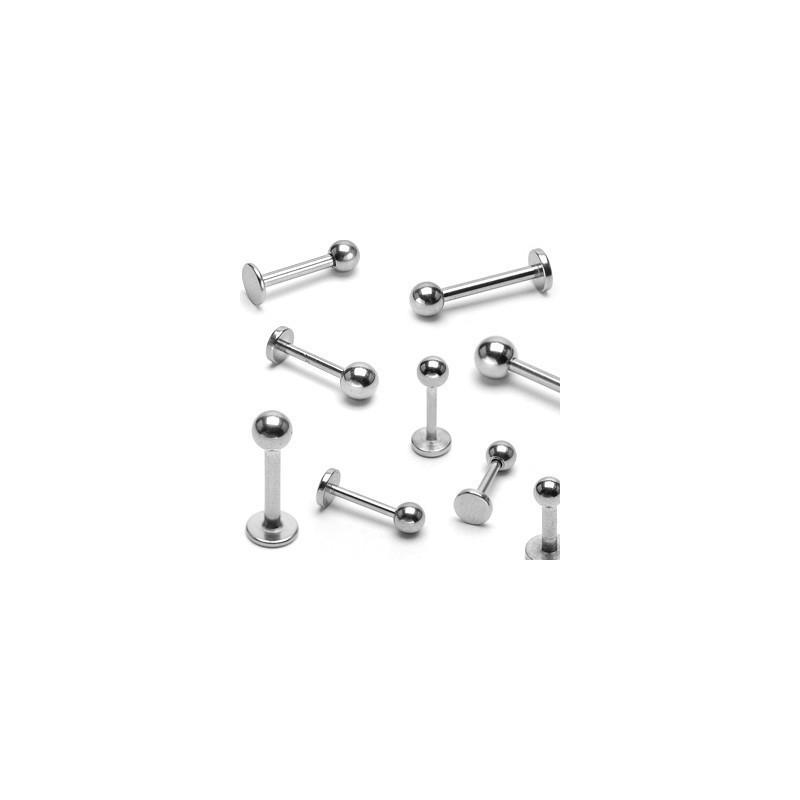 Piercing labret classique en titane de qualité avec bille de 3 mm couleur acier gris
