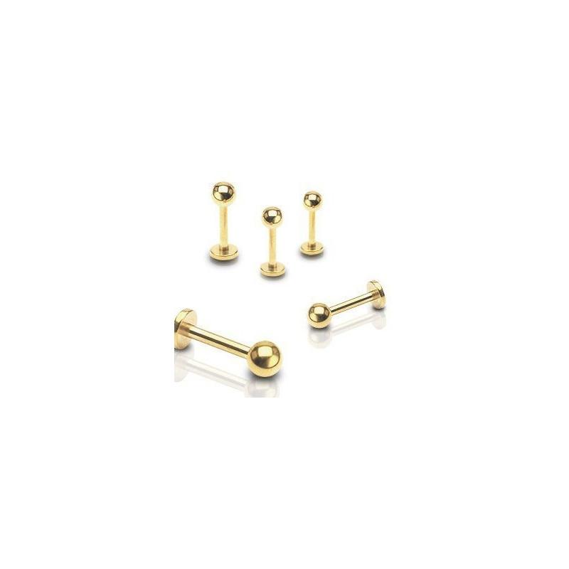 bijoux Piercing labret classique titane anodisé couleur or doré bille 3 mm haute qualité