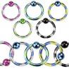 Piercing anneau 1.2mm acier et violet en titane arcade