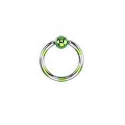 Piercing anneau 1.2mm Vert et acier