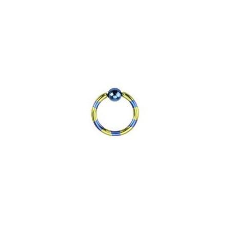 Piercing anneau 1.2mm Bleu et jaune