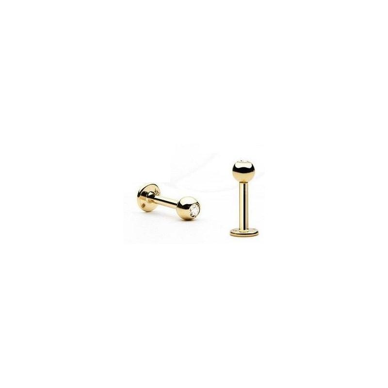Piercing labret titane anodisé de grande qualité doré Bille 3 mm avec cristal couleur or pas cher