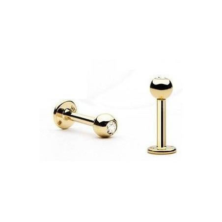 Piercing labret titane doré Bille 3 mm avec cristal
