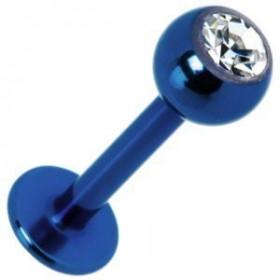 Piercing labret annodisé pvd de couleur bleu en titane bleu Bille 3 mm avec cristal zirconium blanc