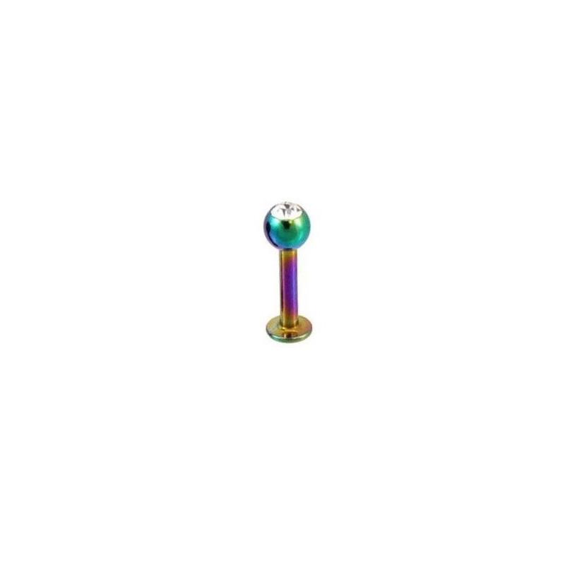 Piercing labret titane anodisé essence Bille 3 mm couleur arc en ciel avec cristal zirconium blanc