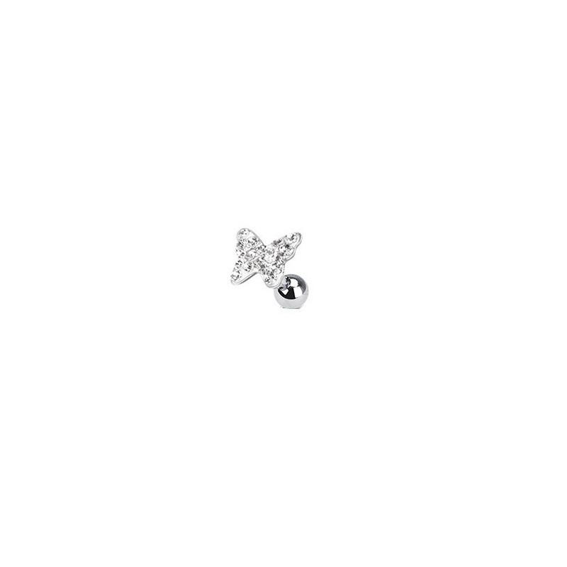 Piercing oreille tagus helix cartilage lobe en acier chirurgical motif papillon cristal couleur blanc blanc