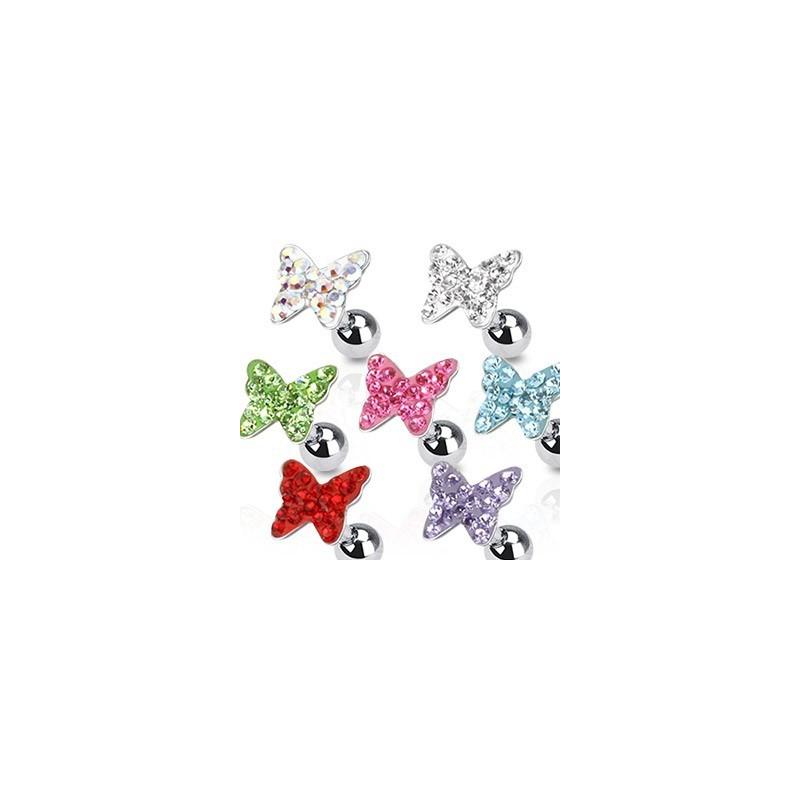 Piercing tagus helix cartilage lobe en acier chirurgical motif papillon cristal couleur blanc blanc