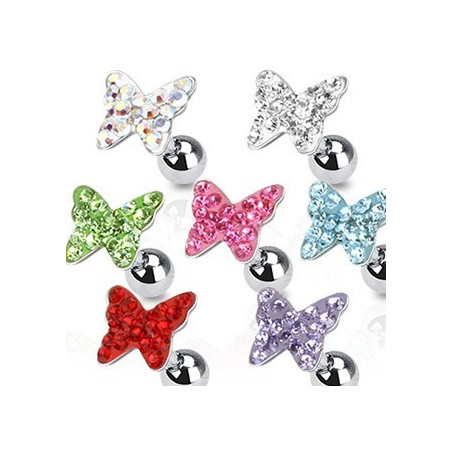 Piercing oreille papillon strass