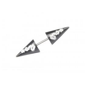 Faux écarteur acier chirurgical motif imprimé dragon pointe noir