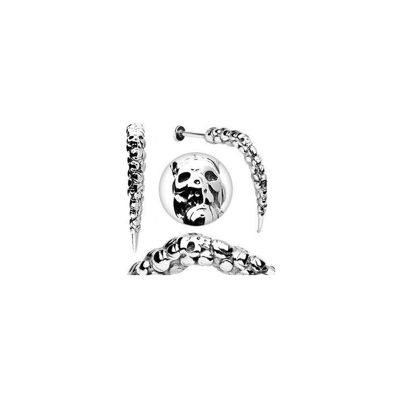 Piercing labret Skull tête de mort 1.6mm longue pointe acier hardcore