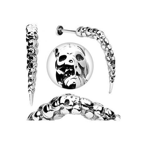 Piercing labret Skull 1.6mm longue pointe acier