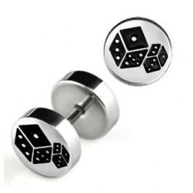 Faux piercing plug ecarteur oreille logo dés acier chirurgical inoxydable