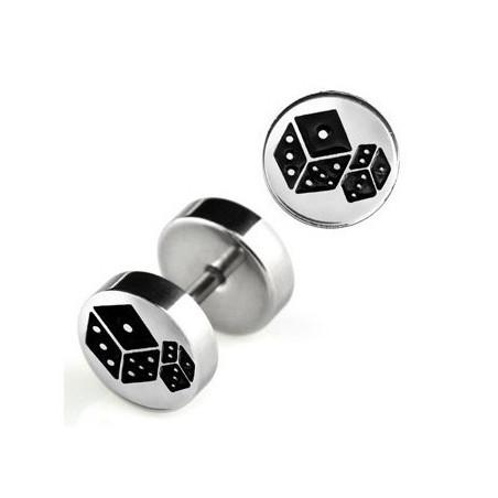 Faux piercing plug logo dés acier