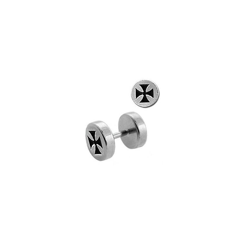 Faux piercing plug écarteur pour oreille logo croix de malte acier chirurgical inoxydable