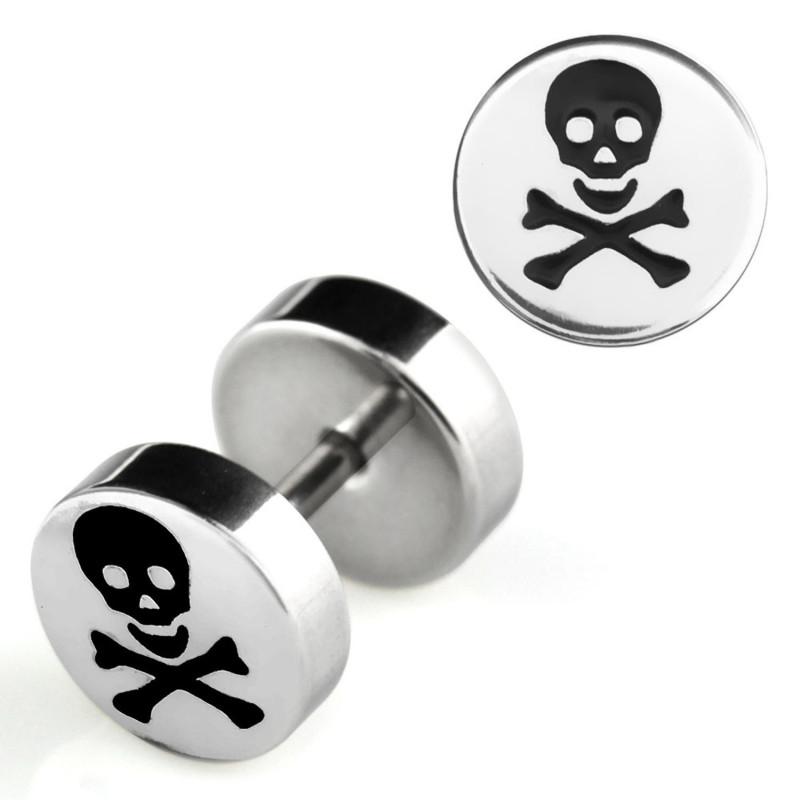 Faux piercing oreille écarteur imitation plug logo tête de mort acier chirurgical