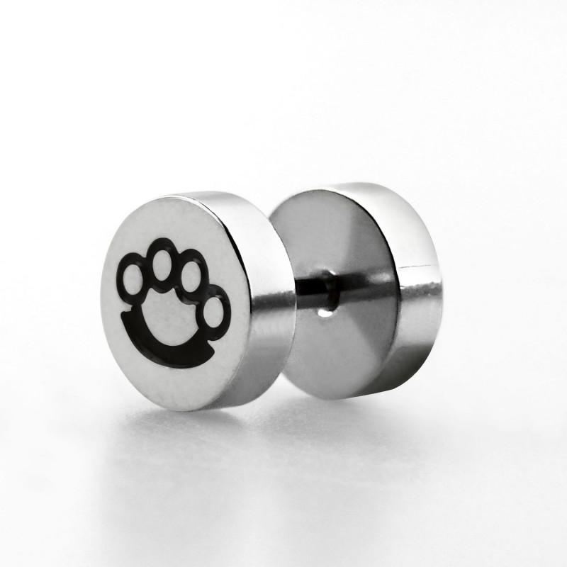 piercing oreille faux écarteur imitation plug logo poing américain en acier chirurgical