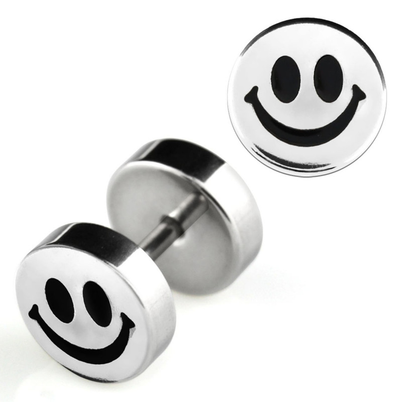 Piercing oreille faux écarteur imittion plug logo smiley acier chirurgical