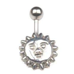 Piercing nombril Soleil avec visage acier
