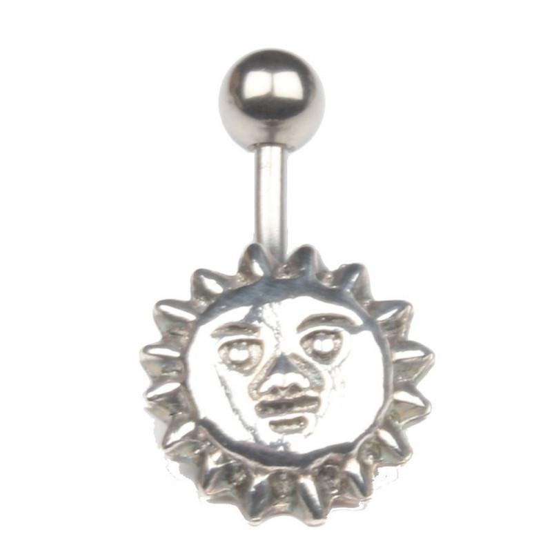 Piercing nombril acier chirurgical motif Soleil acier discret