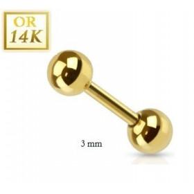 Piercing hélix cartilage et tragus barbell oreille arcade 1.2mm en or 14 carats