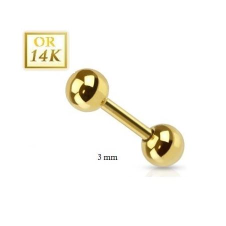 Piercing barbel 1.2mm en or 14K