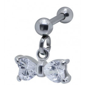 Piercing oreille acier chirurgical pendentif noeud de papillon cristal blanc pour hélix tragus et cartilage oreille