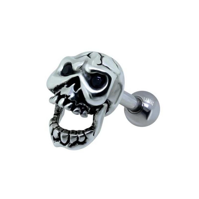 Piercing hélix skull motif tête de mort en acier chirurgical pour le piercing tragus hélix et piercing cartilage d'oreille