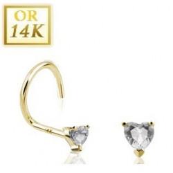 Piercing nez en or cristal coeur blanc