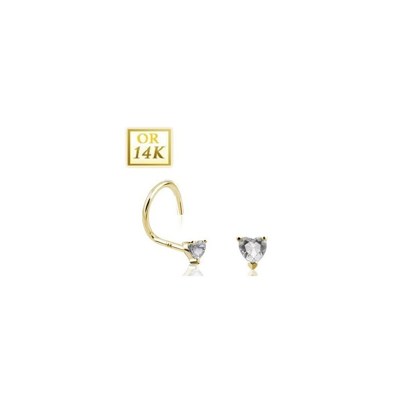 Piercing nez courbé en or 14 carats motif cristal coeur blanc