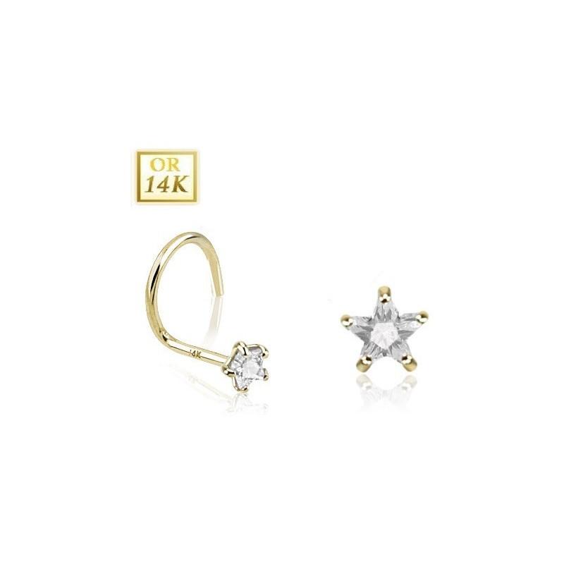 Piercing nez chic en or jaune 14 carats motif étoile cristal blanche