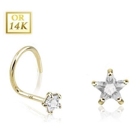 Piercing nez courbé or jaune étoile cristal blanc