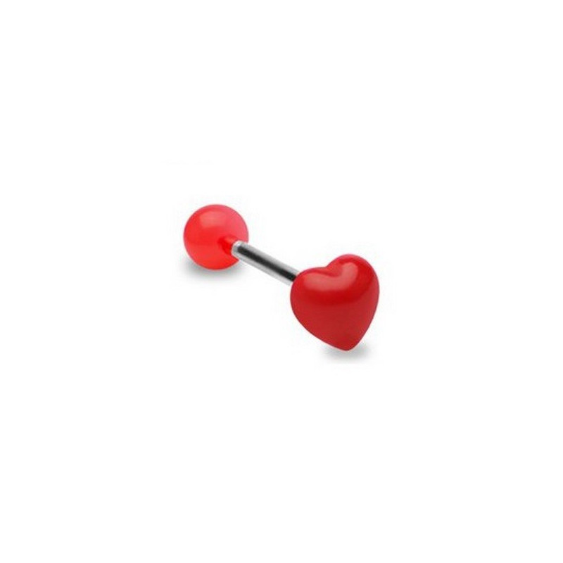 Piercing langue barbell acier chirurgical bille acrylique fluo motif coeur fluo rouge