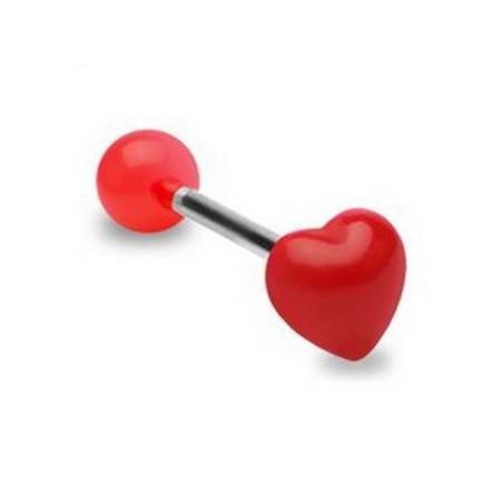 Piercing langue coeur fluo rouge