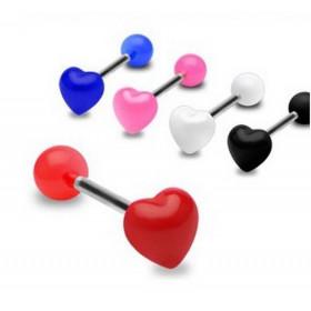Piercing langue barbell acier chirurgical bille acrylique fluo motif coeur fluo rouge pour femme