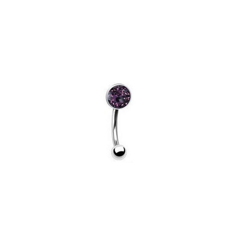 Piercing arcade micro banana en acier chirurgical cristal autrichien couleur violet pour femme
