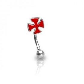 Piercing arcade micro banana en acier chirurgical croix chopper couleur rouge pour home et femme