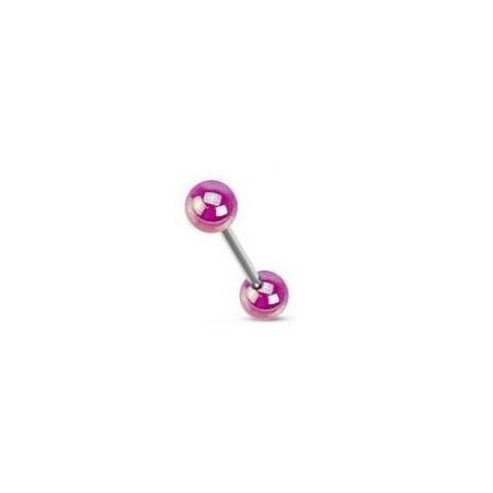 Piercing barbell bille acrylique violette